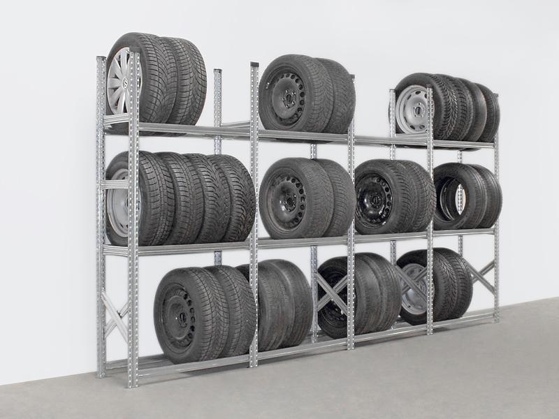 Reifenregal Super, 3 Ebenen, Set (4 Felder), Feldlänge 1200 mm