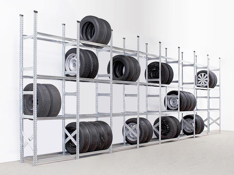 Reifenregal Super, Set mit 8 Feldern, 4 Ebenen, Feldlänge 1050 mm