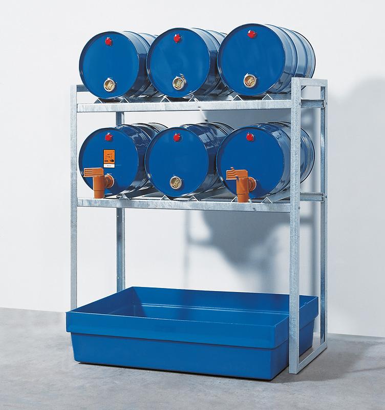 Fassregal mit Kunststoffwanne, Regallänge 1340 mm