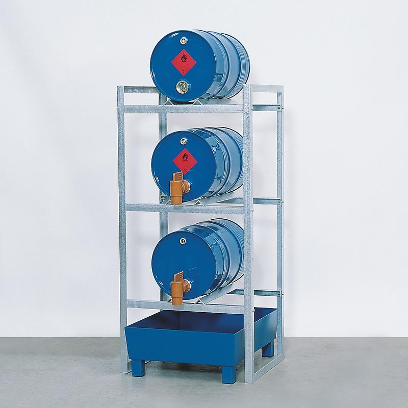 Fassregal L 1340 mm mit Auffangwanne aus Stahl