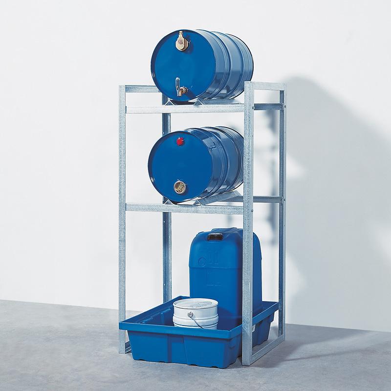 Fassregal L 750 mm mit Auffangwanne aus Kunststoff