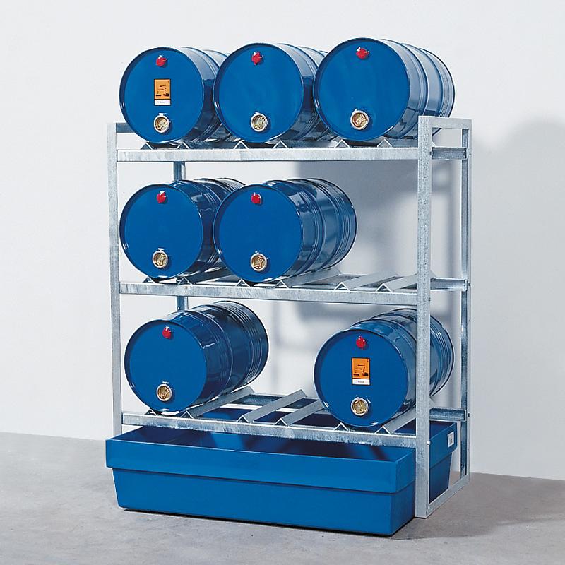 Fassregal mit Auffangwanne aus Kunststoff, Regallänge 750 mm