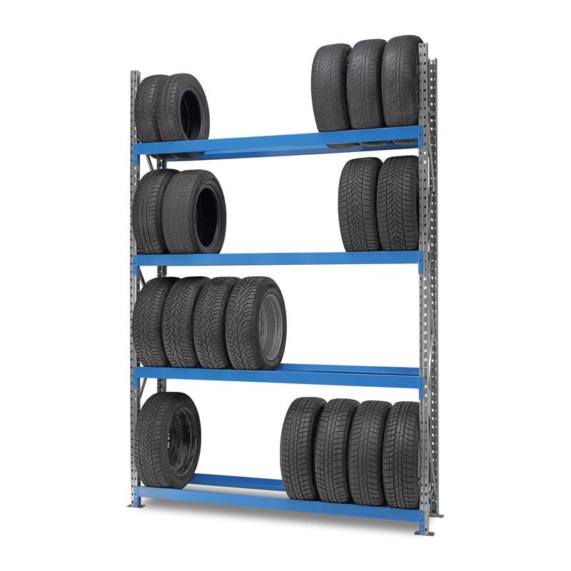 Reifenregal Weitspann, Grundregal, Balken blau
