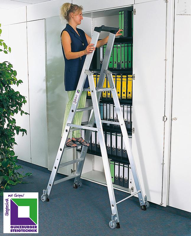 Aluleiter, Stehleiter für Büro und Archiv, 5 Stufen