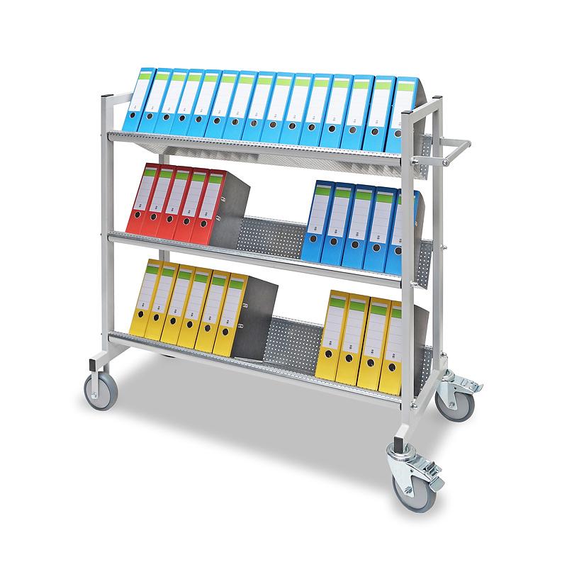 Bürowagen mit 3 Ebenen für 45 Ordner
