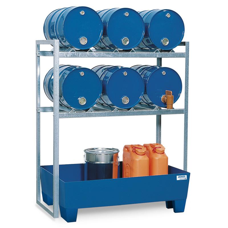 Lagerregal für 6x 60-Liter-Fässer inkl. Stahl-Auffangwanne