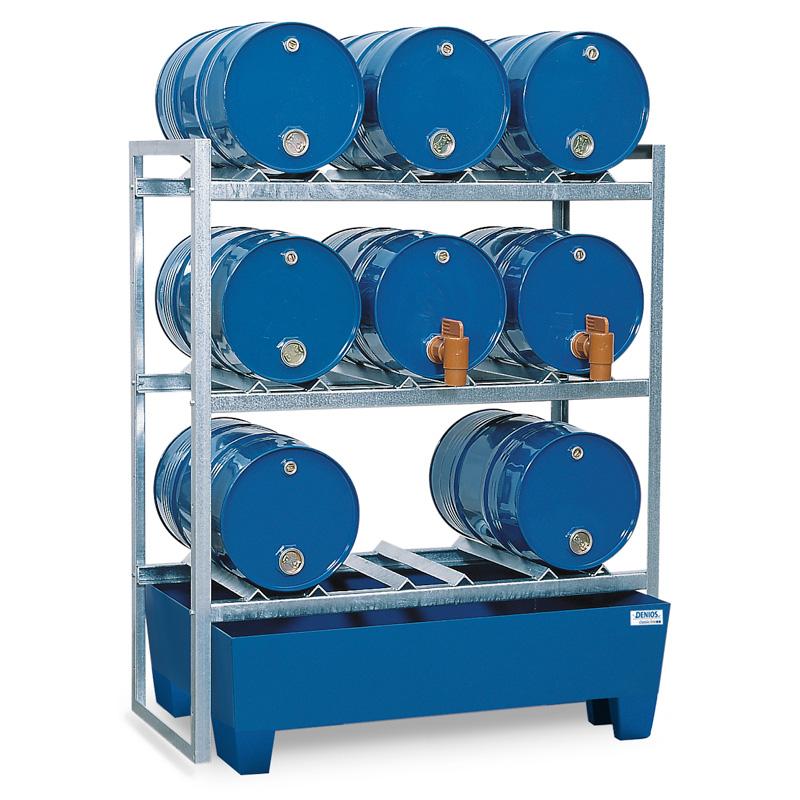 Lagerregal für 9x 60-Liter-Fässer inkl. Auffangwanne aus Stahl
