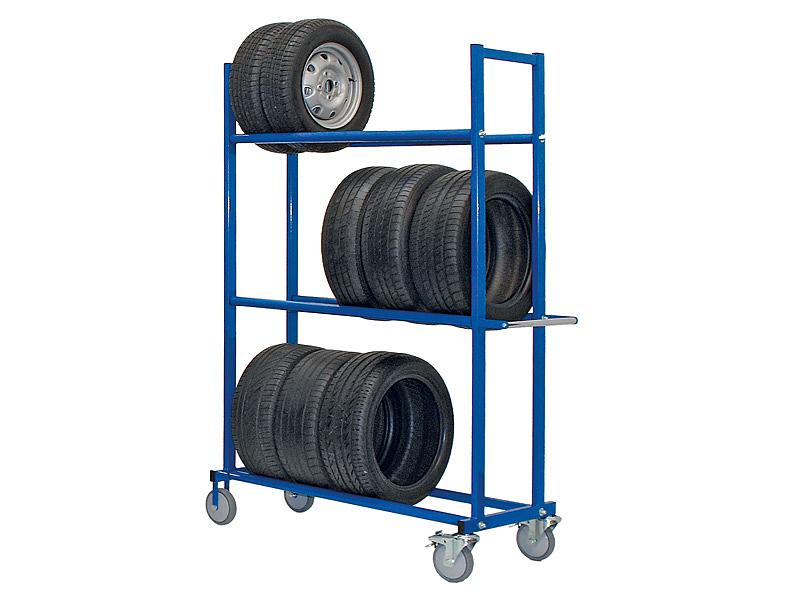 Reifentransportwagen 3 Ebenen H 2,0 x T 0,61 x L 1,95 m, Farbe blau