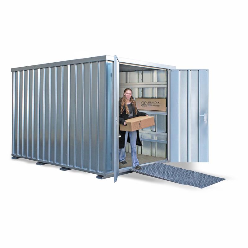 Lagercontainer verzinkt mit Doppelflügeltür, stirnseitig