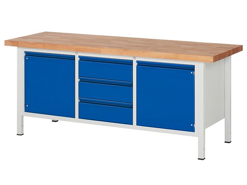 Werkstatt Werkbank mit 2 Türen, 3 Schubladen und Fachböden
