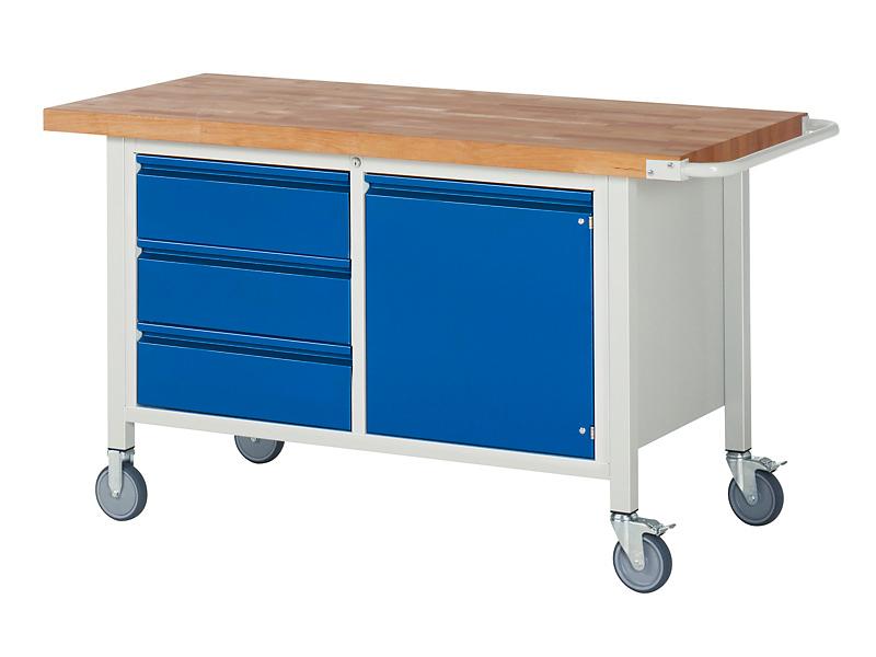 rollbare Werkbank inkl. 3 Schubladen und 1 Tür - B 1500 x T 700 x H 880 mm