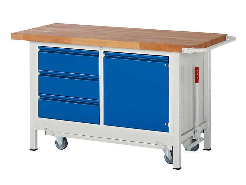 Werkbank mit 3 Schubladen und 1 Tür - feststehend inkl. absenkbarem Fahrgestell