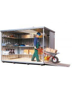 Lagercontainer, Schnellbaucontainer mit einflügeliger Tür (stirnseitig)