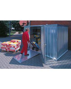 Schnellbaucontainer Lagercontainer mit einflügeliger Tür (längsseitig)