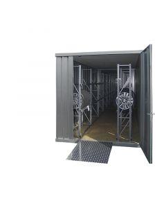 Verzinkter Reifencontainer Tiefe 6 m mit 1-flügeliger Tür stirnseitig