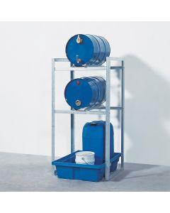 Fassregal für 2 Stück 60-Liter-Fässer mit Kunststoff-Auffangwanne
