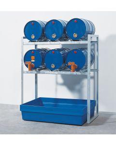 Gefahrstofflagerregal - für 6x 60-Liter-Fässer inkl. Kunststoffauffangwanne