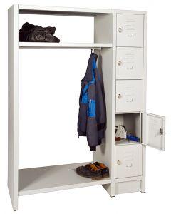 offene Garderobe mit Schließfachschranksäule, RAL 7035 lichtgrau