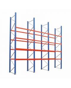 Palettenregal Regalzeile mit 16 Balkenpaaren L 1,80 m | H 5,25 x T 1,1 x L 7,7 m