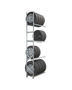 Reifenregal System SUPER, Anbaufeld mit 4 Lagerebenen, H 3000 mm