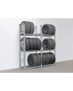 Reifenregal System SUPER mit 3 Lagerebenen   H 2,0 x T 0,4 x L 1,88 m (2x L 0,9 m)
