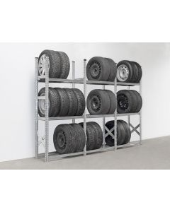 Reifenregal System SUPER mit 3 Lagerebenen   H 2,0 x T 0,4 x L 2,8 m (3x L 0,9 m)