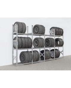 Reifenregal System SUPER   H 2,0 x T 0,4 x L 3,7 m (  4x L 0,9 m)   3 Lagerebenen