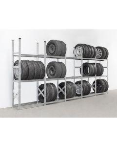 Reifenregal SUPER - Set mit 5 Feldern L 900 mm (Gesamtlänge: 4,6 m) - 3 Lagerebenen