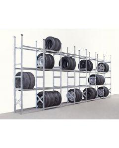Reifenregal Set mit 7 Feldern L 1,20 m: H 2,5 x T 0,4 x L 8,5 m | 4 Lagerebenen