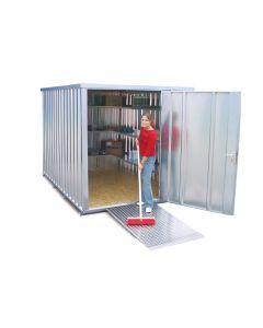 verzinkter Schnellbaucontainer - Ausführung mit einflügeliger Tür, stirnseitig